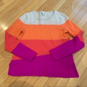 White + Warren Color block 100% Cashmere Sweater